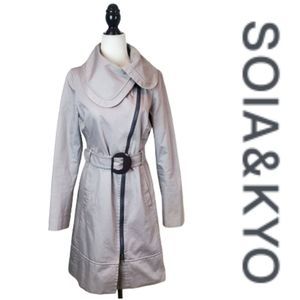 SOIA & KYO Asymmetrical Zip Belted Trench Coat
